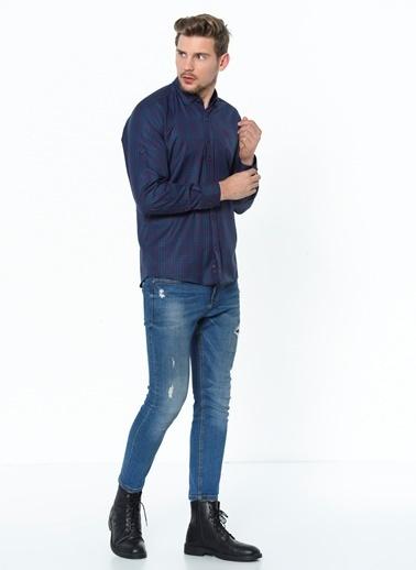 Dewberry Pamuklu Uzun Kol Shirt Neck Ver Erkek Gömlek Lacivert